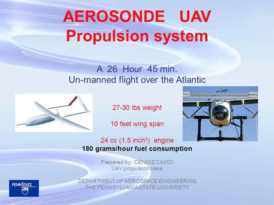 400 gm/[KWh] 180 gm/hour level flight 0.45 KW 400gm/[KWh] @ 5500 rpm MAX Fuel capacity 7000 gm 5000/180= 27.8 hours Transatlantic flight took 26 H 45 min FIRST GENERATION ENYA PROPULSION SYSTEM