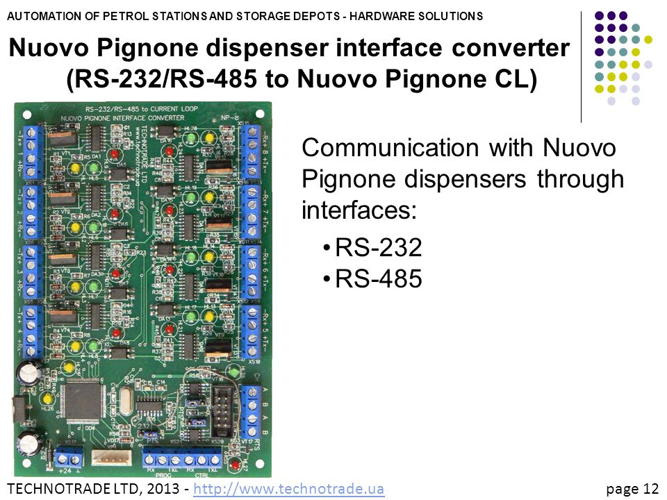 AUTOMATION OF PETROL STATIONS AND STORAGE DEPOTS - HARDWARE SOLUTIONS Nuovo Pignone dispenser interface converter (RS-232/RS-485 to Nuovo Pignone CL)