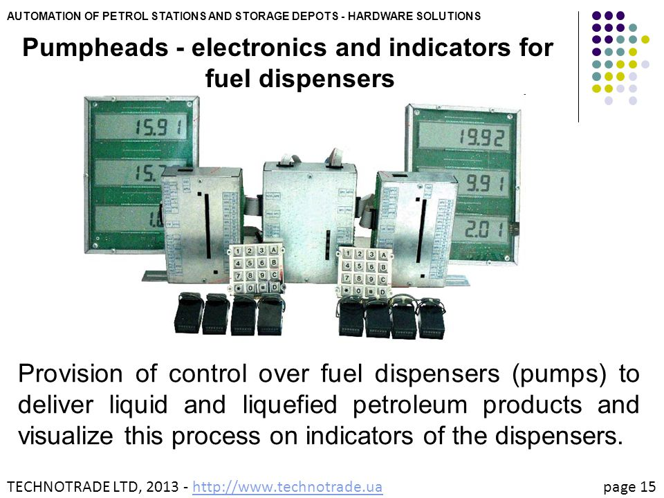 AUTOMATION OF PETROL STATIONS AND STORAGE DEPOTS - HARDWARE SOLUTIONS Pumpheads - electronics and indicators for fuel dispensers Provision of control