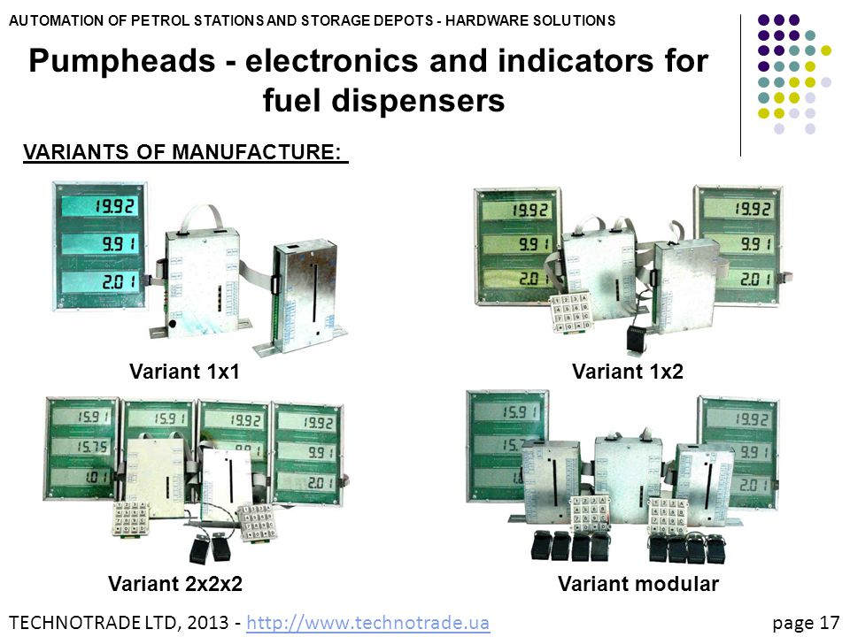 AUTOMATION OF PETROL STATIONS AND STORAGE DEPOTS - HARDWARE SOLUTIONS Pumpheads - electronics and indicators for fuel dispensers VARIANTS OF MANUFACTU