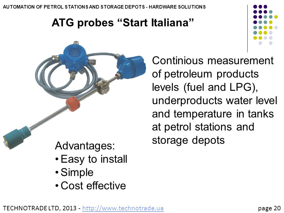 """AUTOMATION OF PETROL STATIONS AND STORAGE DEPOTS - HARDWARE SOLUTIONS ATG probes """"Start Italiana"""" Continious measurement of petroleum products levels"""