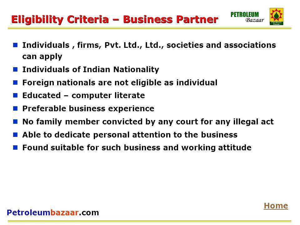 Petroleumbazaar.com Eligibility Criteria – Business Partner Individuals, firms, Pvt.