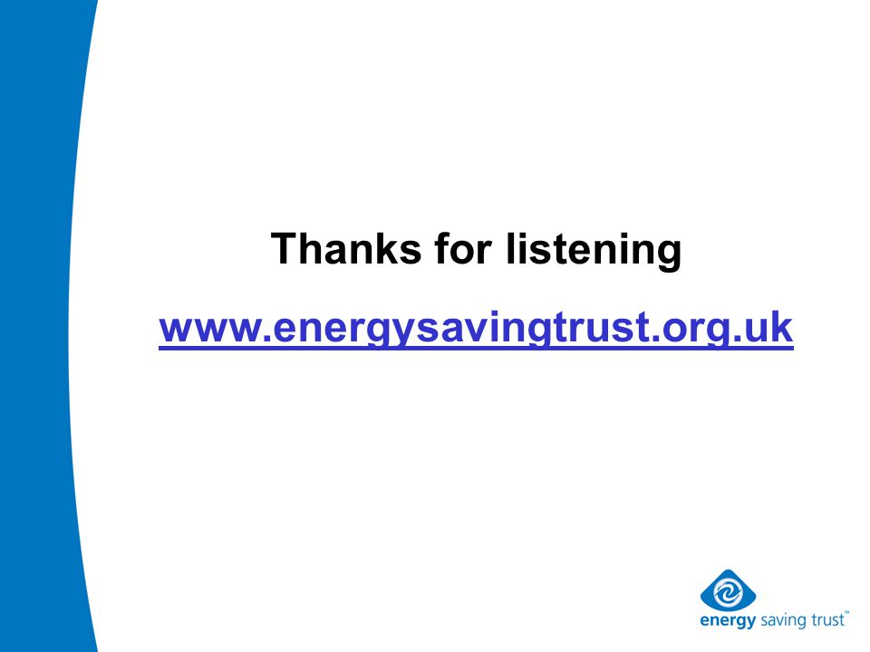 Thanks for listening www.energysavingtrust.org.uk