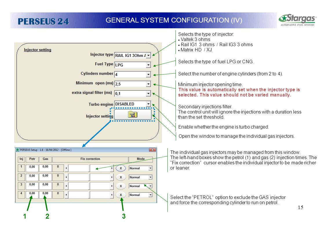 15 GENERAL SYSTEM CONFIGURATION (IV) PERSEUS 24 Minimum injector opening time. This value is automatically set when the injector type is selected. Thi