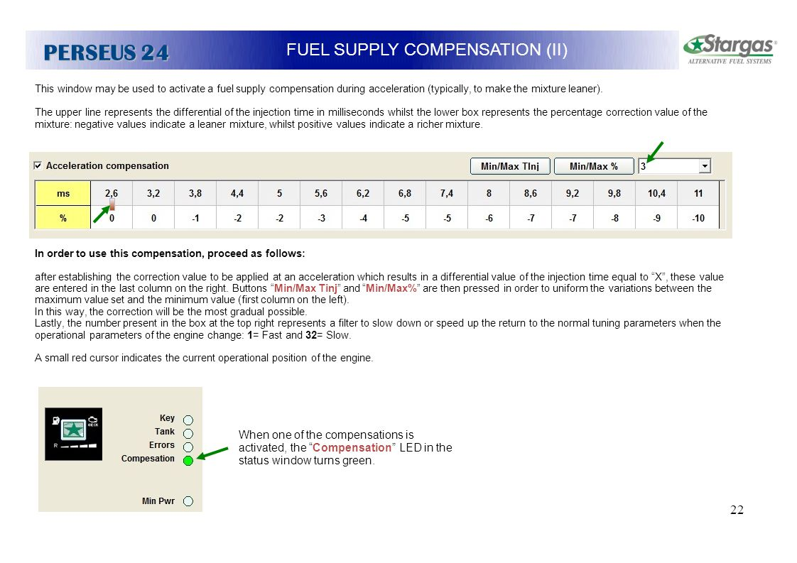 22 FUEL SUPPLY COMPENSATION (II) PERSEUS 24 This window may be used to activate a fuel supply compensation during acceleration (typically, to make the