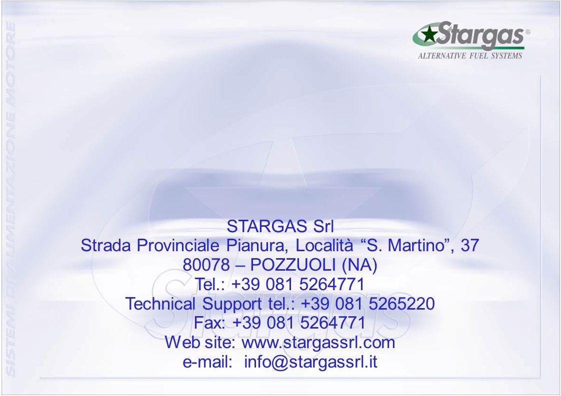 """27 STARGAS Srl Strada Provinciale Pianura, Località """"S. Martino"""", 37 80078 – POZZUOLI (NA) Tel.: +39 081 5264771 Technical Support tel.: +39 081 52652"""