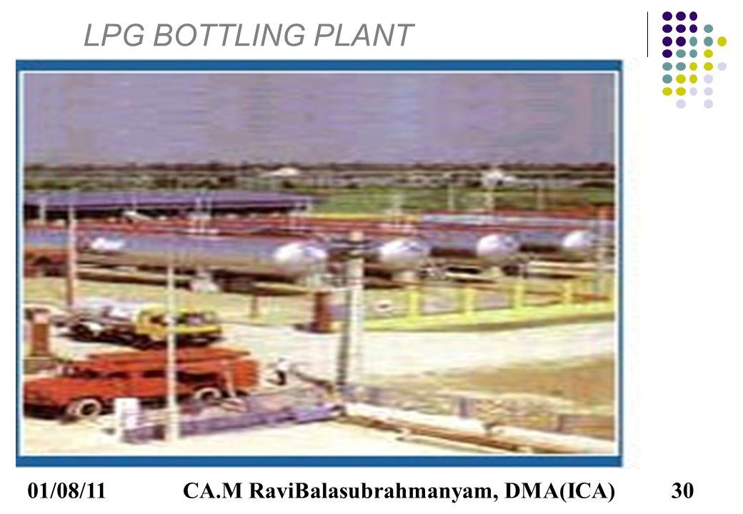 01/08/11CA.M RaviBalasubrahmanyam, DMA(ICA)30 LPG BOTTLING PLANT