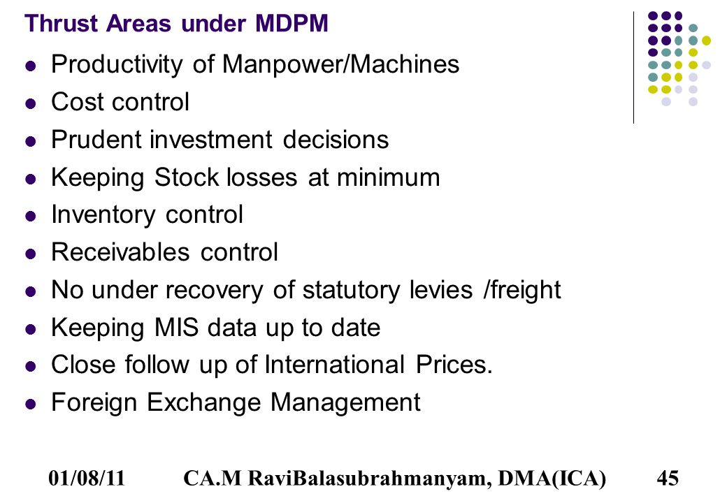 01/08/1145 Thrust Areas under MDPM Productivity of Manpower/Machines Cost control Prudent investment decisions Keeping Stock losses at minimum Inventory control Receivables control No under recovery of statutory levies /freight Keeping MIS data up to date Close follow up of International Prices.