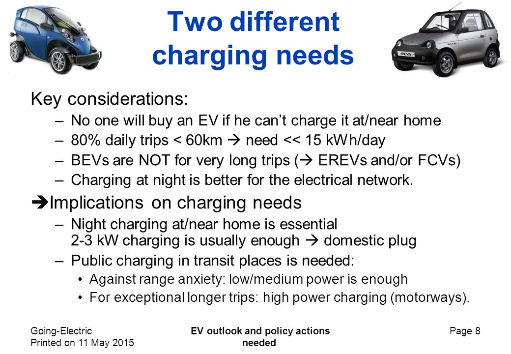 Going-Electric Printed on 11 May 2015 EV outlook and policy actions needed Page 8 Two different charging needs Key considerations: –No one will buy an EV if he can't charge it at/near home –80% daily trips < 60km  need << 15 kWh/day –BEVs are NOT for very long trips (  EREVs and/or FCVs) –Charging at night is better for the electrical network.