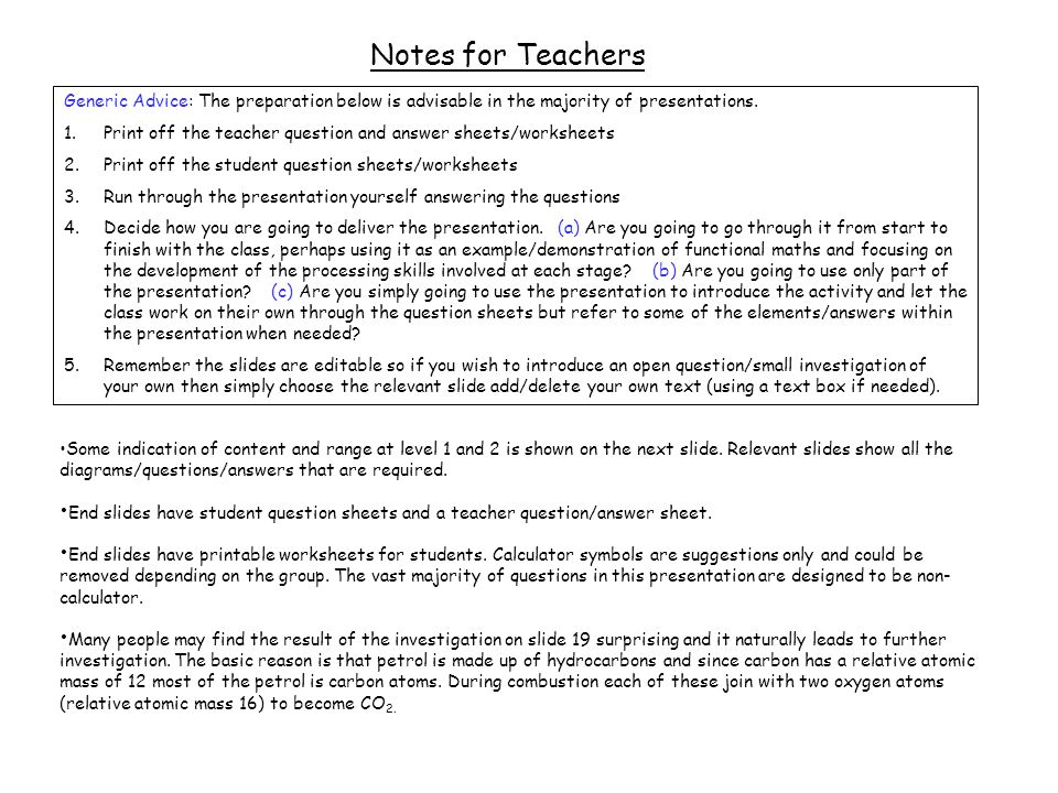 Guidance Notes for Teachers Some indication of content and range at level 1 and 2 is shown on the next slide.