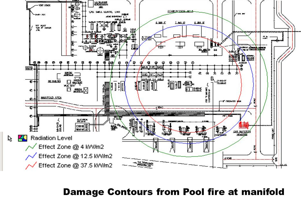 Damage Contours from Pool fire at manifold