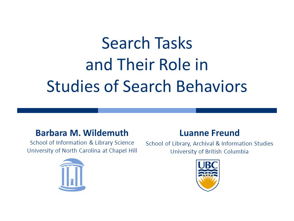 Search Tasks and Their Role in Studies of Search Behaviors Barbara M.