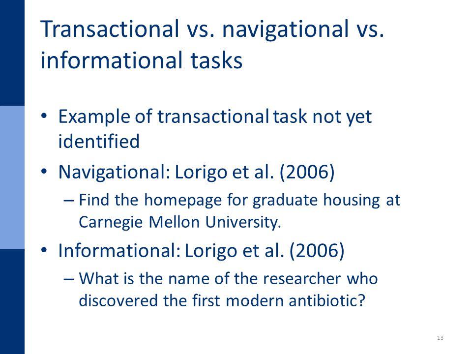 Transactional vs. navigational vs.