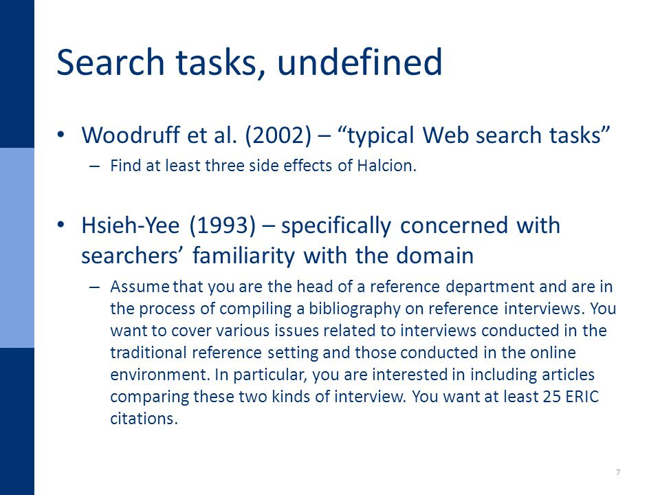 Search tasks, undefined Woodruff et al.