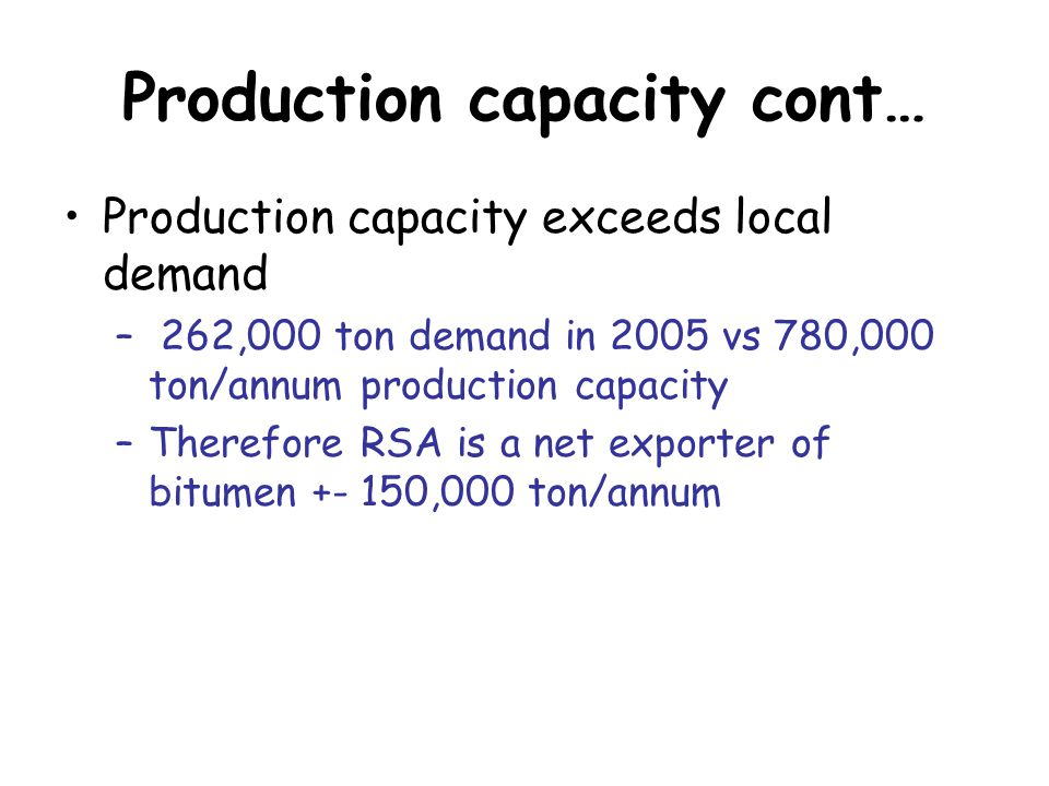 Production capacity cont… Production capacity exceeds local demand – 262,000 ton demand in 2005 vs 780,000 ton/annum production capacity –Therefore RSA is a net exporter of bitumen +- 150,000 ton/annum