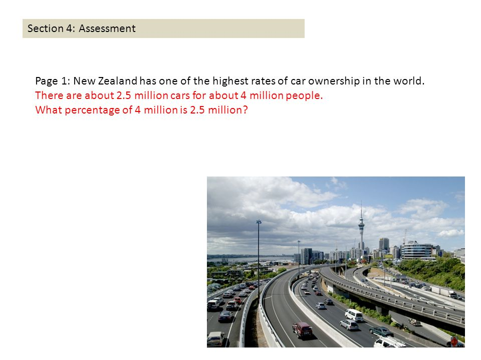 Section 4: Assessment Page 1: New Zealand has one of the highest rates of car ownership in the world. There are about 2.5 million cars for about 4 mil
