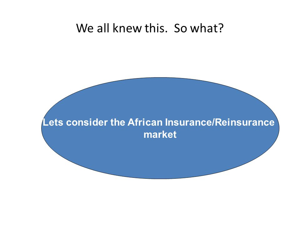 We all knew this. So what Lets consider the African Insurance/Reinsurance market