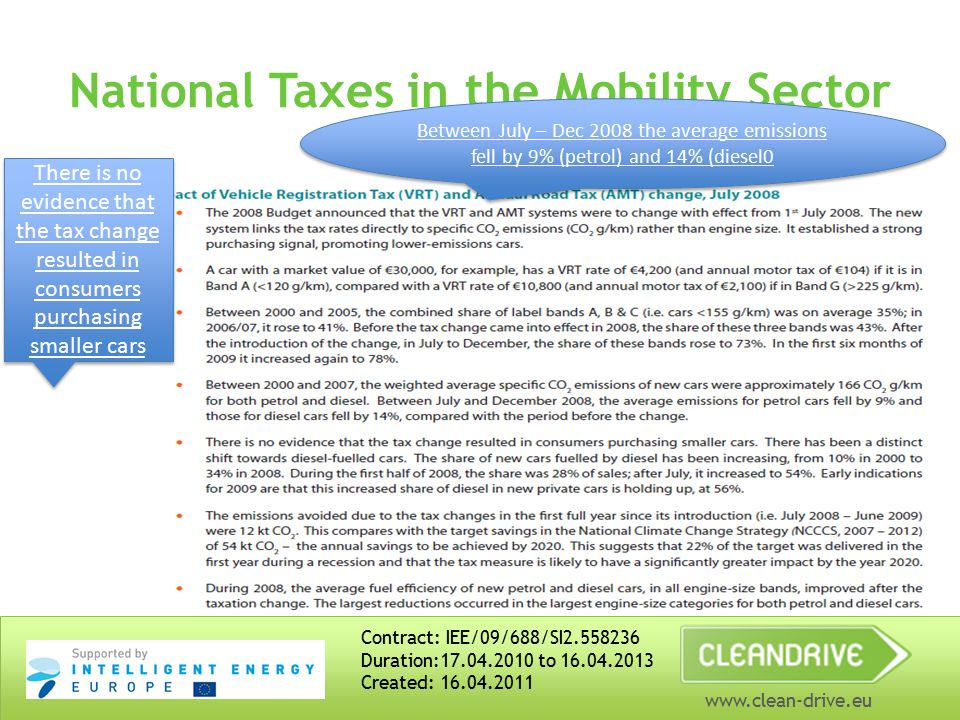 www.clean-drive.eu National Taxes in the Mobility Sector Contract: IEE/09/688/SI2.558236 Duration:17.04.2010 to 16.04.2013 Created: 16.04.2011 Vehicle Registration Tax – related to CO2 emissions not engine size since 2008 Annual Motor Tax – related to CO2 emissions not engine size since 2008 Tax on Petrol, Diesel – additional carbon tax ( €5/t) introduced in 2010 and increased to €20/t in 2012 budget.