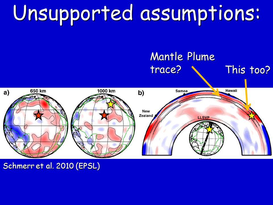 Mantle Plume trace? This too? Schmerr et al. 2010 (EPSL) Unsupported assumptions: