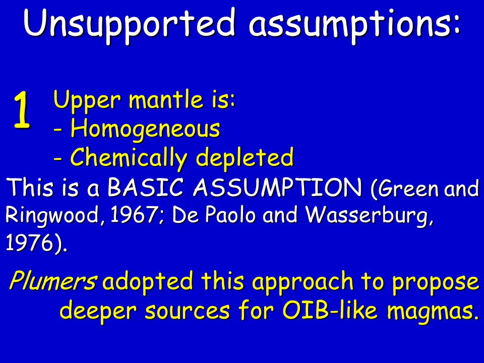 Unsupported assumptions: Upper mantle is: - Homogeneous - Chemically depleted This is a BASIC ASSUMPTION (Green and Ringwood, 1967; De Paolo and Wasserburg, 1976).