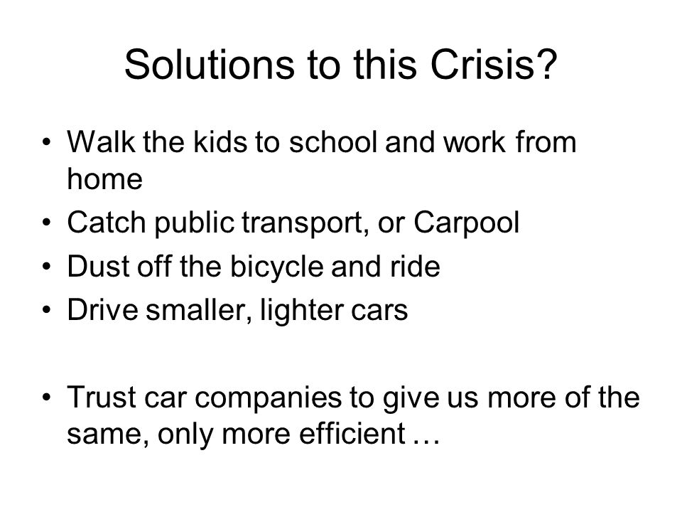 Solutions to this Crisis.