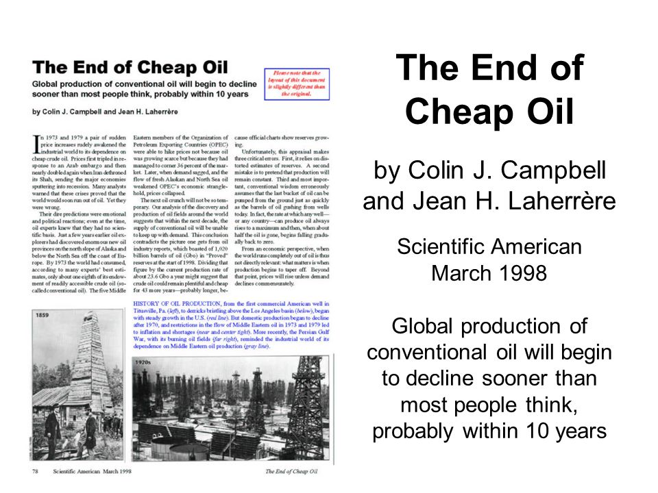 World oil production in decline by 2010