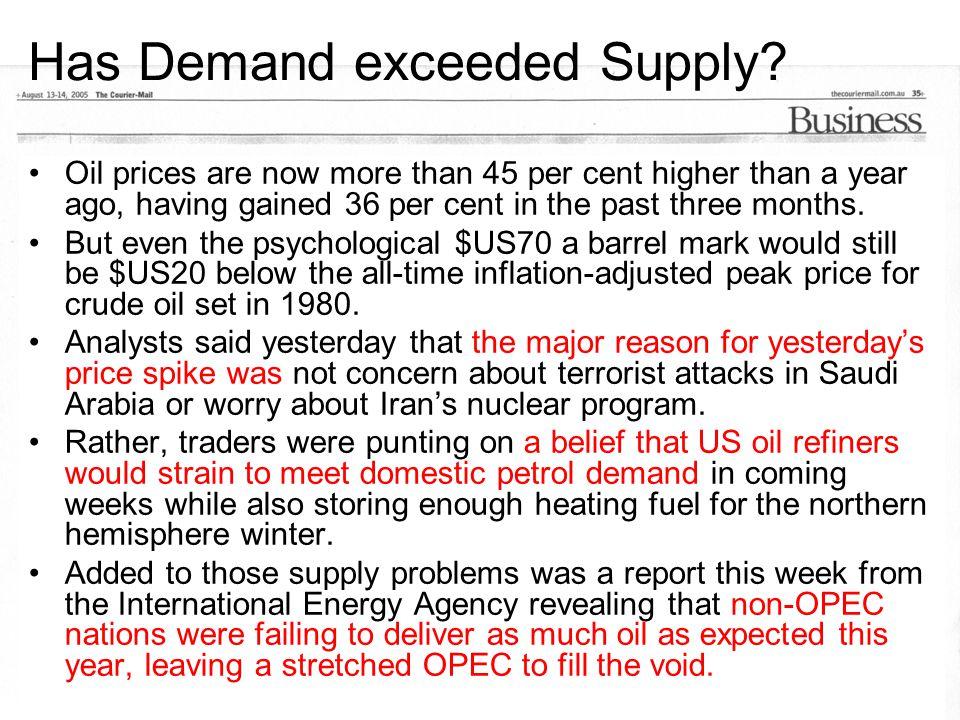 We've now passed US$70 barrel $100 per barrel in 12 months time ??.