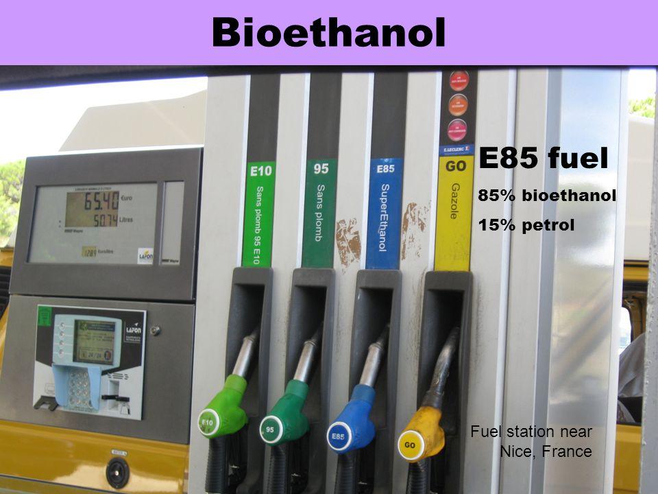 Bioethanol E85 fuel 85% bioethanol 15% petrol Fuel station near Nice, France