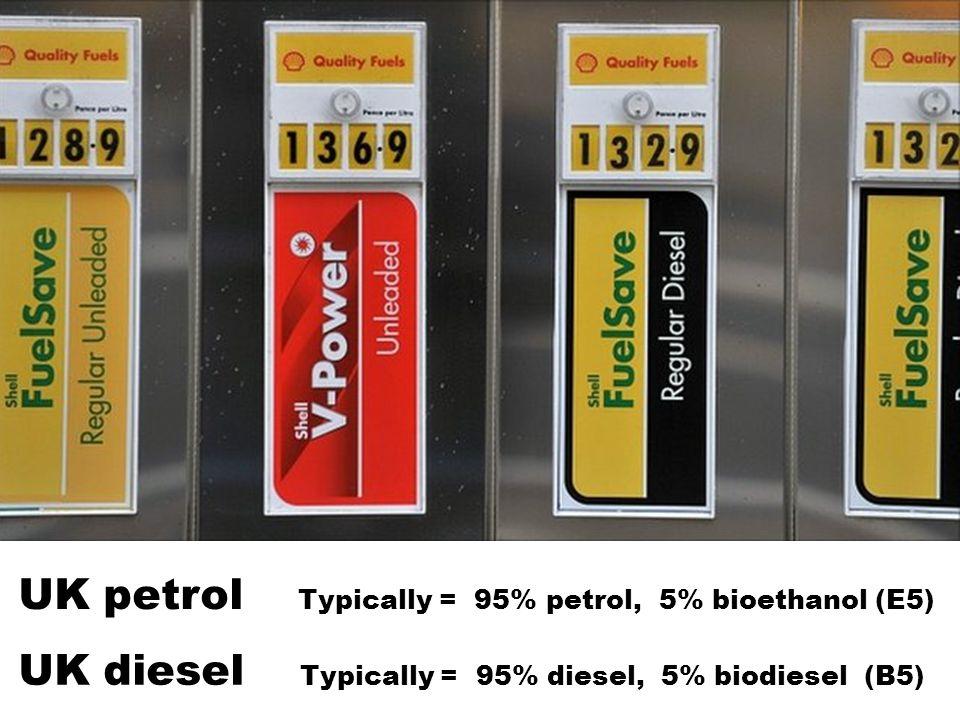 UK petrol Typically = 95% petrol, 5% bioethanol (E5) UK diesel Typically = 95% diesel, 5% biodiesel (B5)