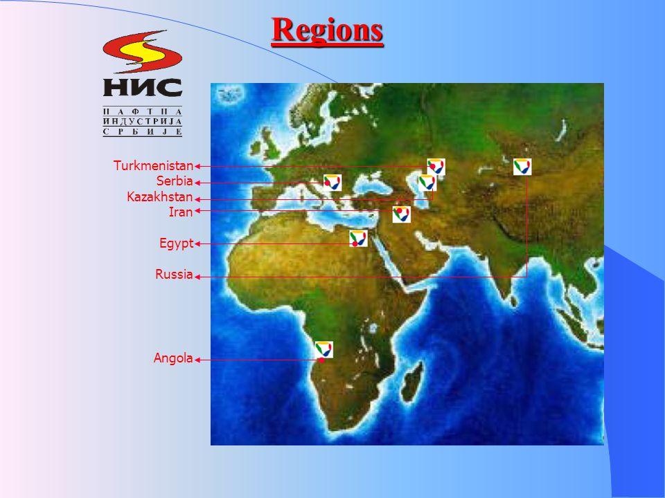 Regions Turkmenistan Serbia Kazakhstan Iran Egypt Russia Angola