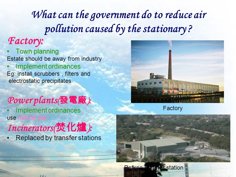 What can the government do to reduce air pollution caused by the stationary .