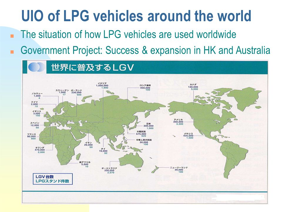 UIO of LPG vehicles around the world The situation of how LPG vehicles are used worldwide n Government Project: Success & expansion in HK and Australia