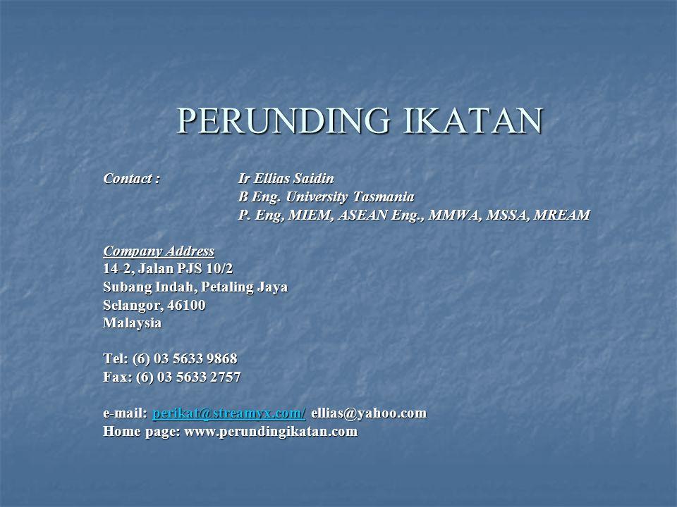 PERUNDING IKATAN Contact : Ir Ellias Saidin B Eng.