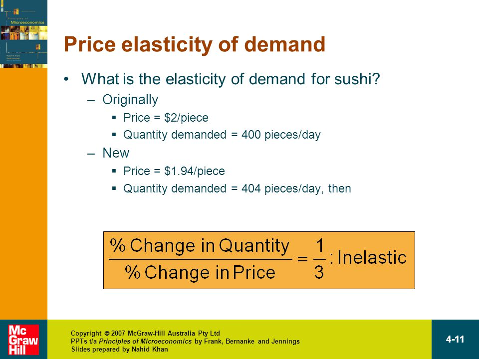 Copyright  2007 McGraw-Hill Australia Pty Ltd PPTs t/a Principles of Microeconomics by Frank, Bernanke and Jennings Slides prepared by Nahid Khan 4-11 Price elasticity of demand What is the elasticity of demand for sushi.