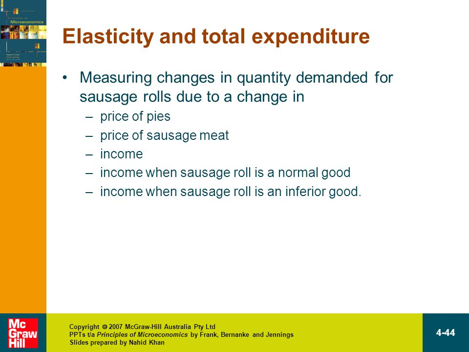 Copyright  2007 McGraw-Hill Australia Pty Ltd PPTs t/a Principles of Microeconomics by Frank, Bernanke and Jennings Slides prepared by Nahid Khan 4-44 Elasticity and total expenditure Measuring changes in quantity demanded for sausage rolls due to a change in –price of pies –price of sausage meat –income –income when sausage roll is a normal good –income when sausage roll is an inferior good.
