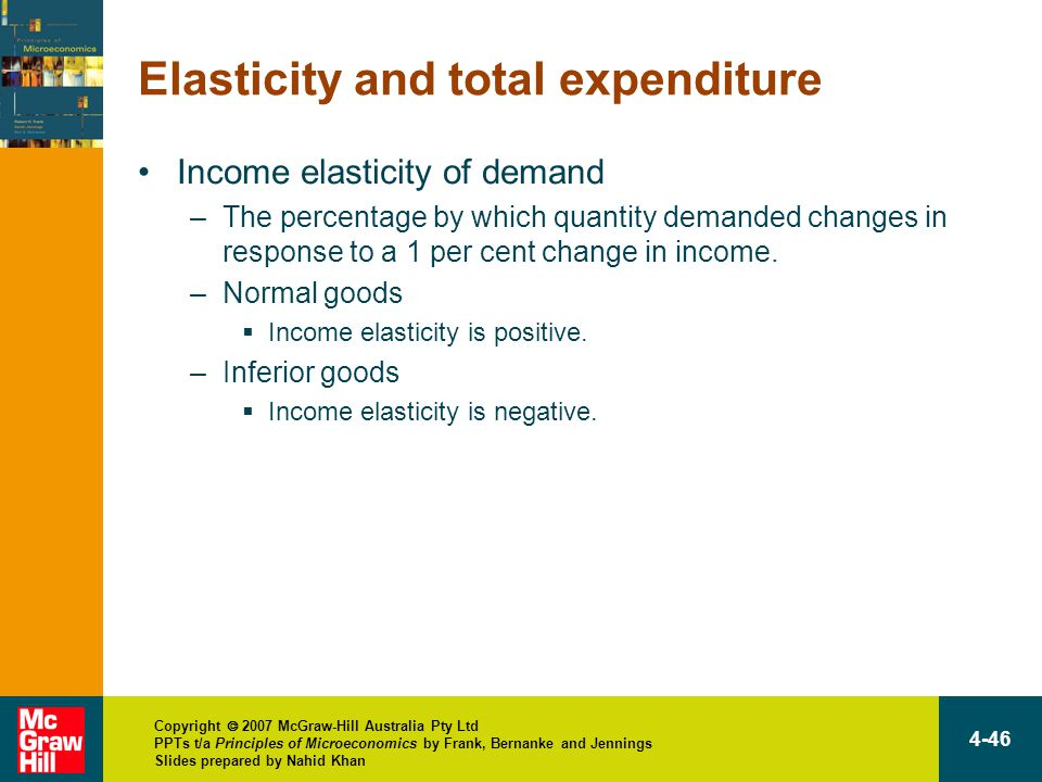 Copyright  2007 McGraw-Hill Australia Pty Ltd PPTs t/a Principles of Microeconomics by Frank, Bernanke and Jennings Slides prepared by Nahid Khan 4-46 Elasticity and total expenditure Income elasticity of demand –The percentage by which quantity demanded changes in response to a 1 per cent change in income.