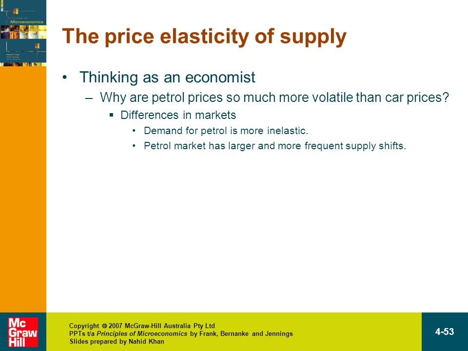 Copyright  2007 McGraw-Hill Australia Pty Ltd PPTs t/a Principles of Microeconomics by Frank, Bernanke and Jennings Slides prepared by Nahid Khan 4-53 The price elasticity of supply Thinking as an economist –Why are petrol prices so much more volatile than car prices.