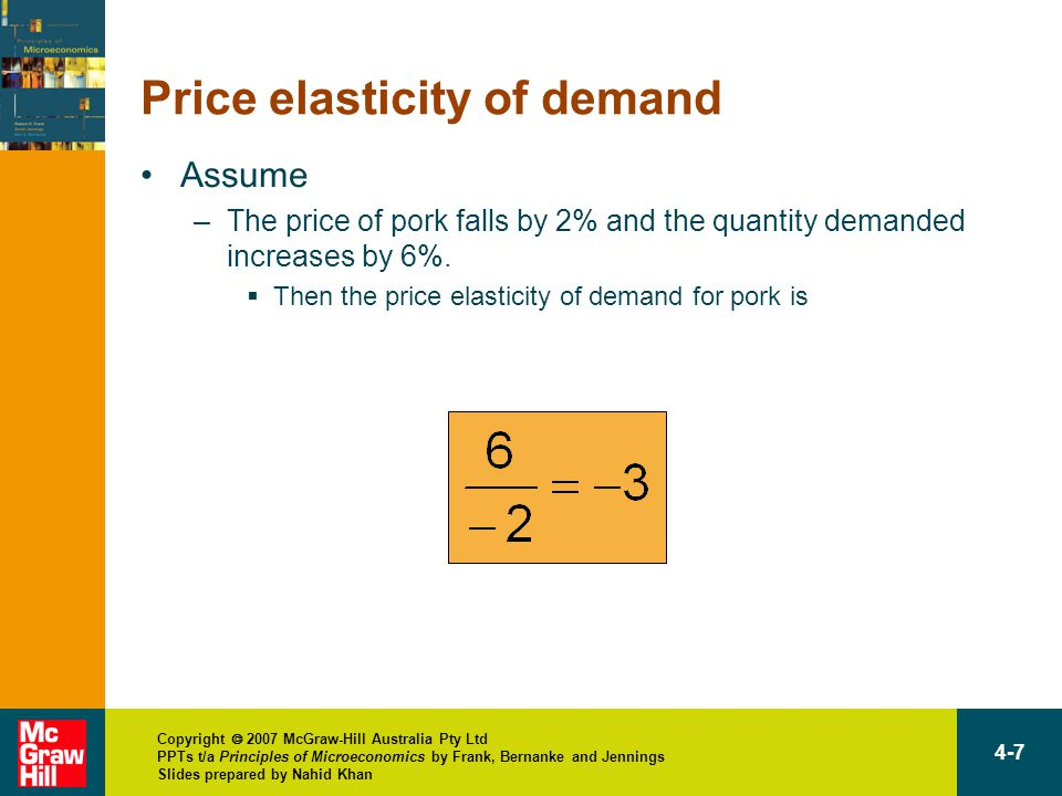 Copyright  2007 McGraw-Hill Australia Pty Ltd PPTs t/a Principles of Microeconomics by Frank, Bernanke and Jennings Slides prepared by Nahid Khan 4-7 Price elasticity of demand Assume –The price of pork falls by 2% and the quantity demanded increases by 6%.