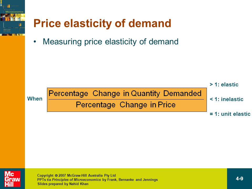 Copyright  2007 McGraw-Hill Australia Pty Ltd PPTs t/a Principles of Microeconomics by Frank, Bernanke and Jennings Slides prepared by Nahid Khan 4-9 Price elasticity of demand Measuring price elasticity of demand When is > 1: elastic < 1: inelastic = 1: unit elastic