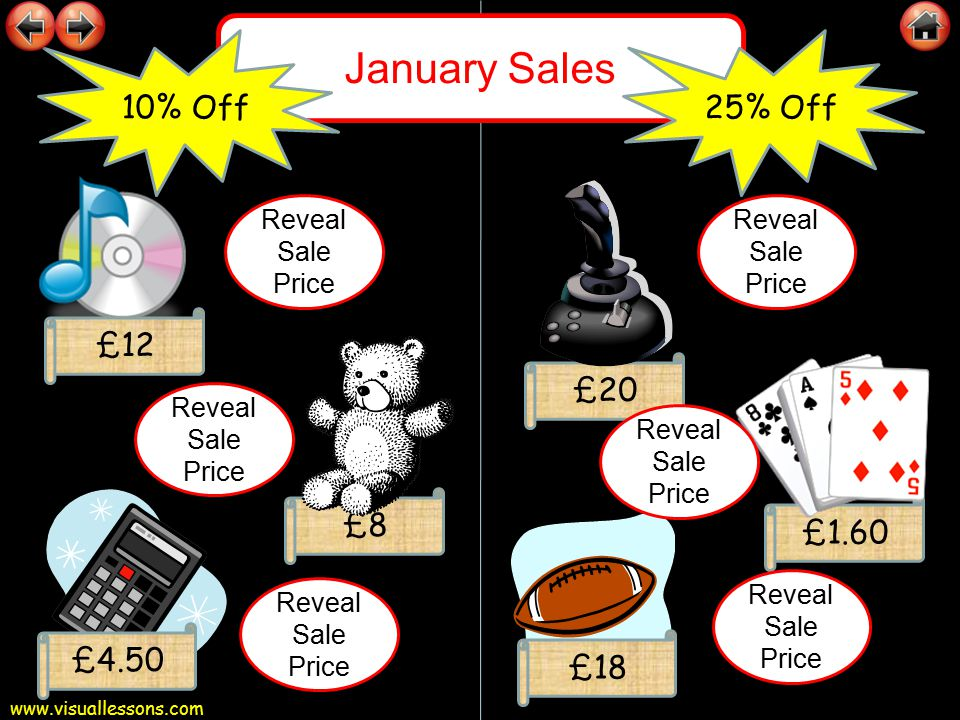 www.visuallessons.com January Sales £90 £29 £12 30% Off £15 £9.50 50% Off £16.50 £63 £20.30 £8.40 £7.50 £8.25 £4.75 Reveal Sale Price