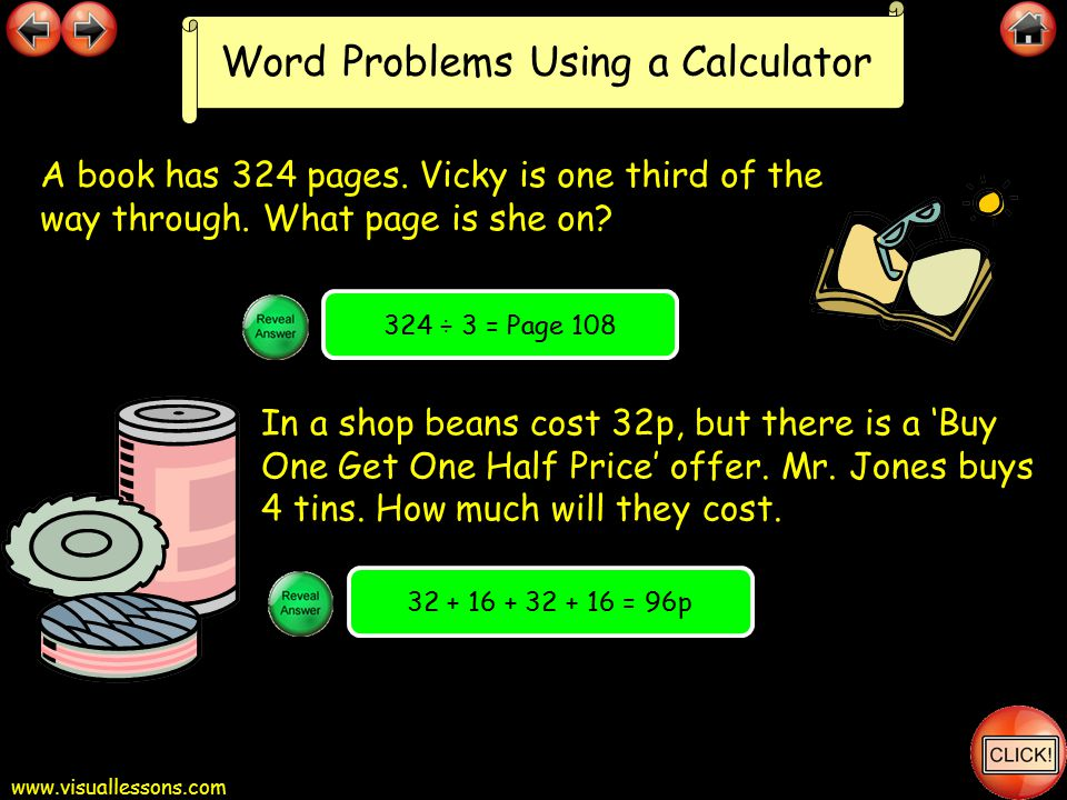 www.visuallessons.com Word Problems Using a Calculator A car travels 45 miles every hour.