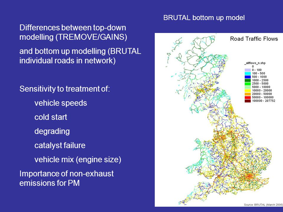 BRUTAL bottom up model Differences between top-down modelling (TREMOVE/GAINS) and bottom up modelling (BRUTAL individual roads in network) Sensitivity