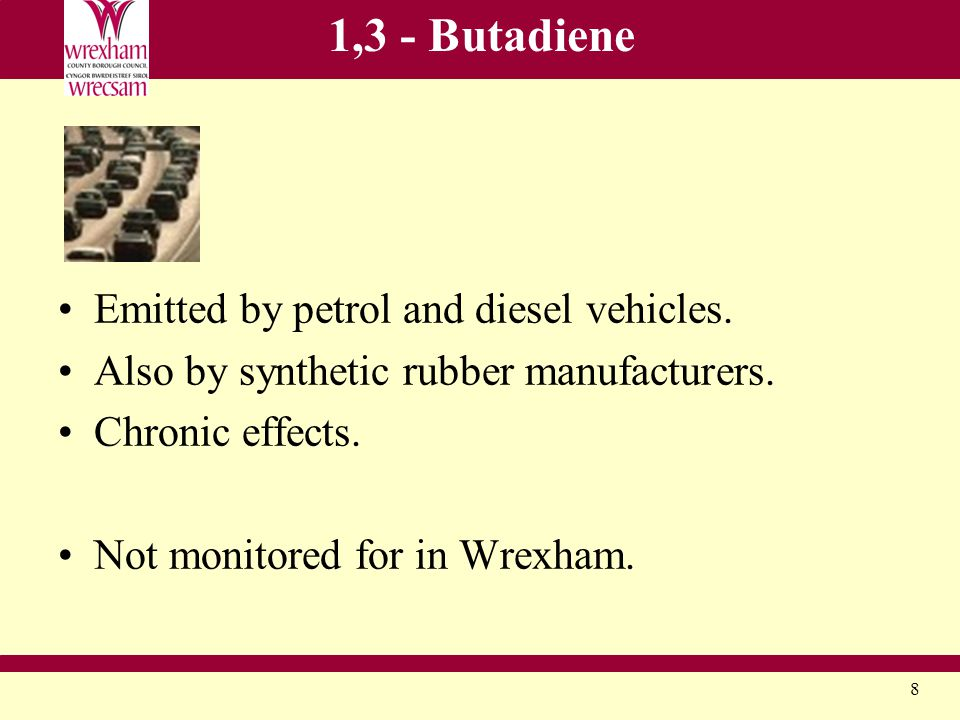 8 1,3 - Butadiene Emitted by petrol and diesel vehicles.