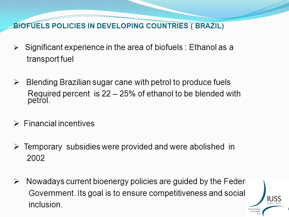 BIOFUELS POLICIES IN DEVELOPING COUNTRIES ( BRAZIL)  Significant experience in the area of biofuels : Ethanol as a transport fuel  Blending Brazilian sugar cane with petrol to produce fuels Required percent is 22 – 25% of ethanol to be blended with petrol.