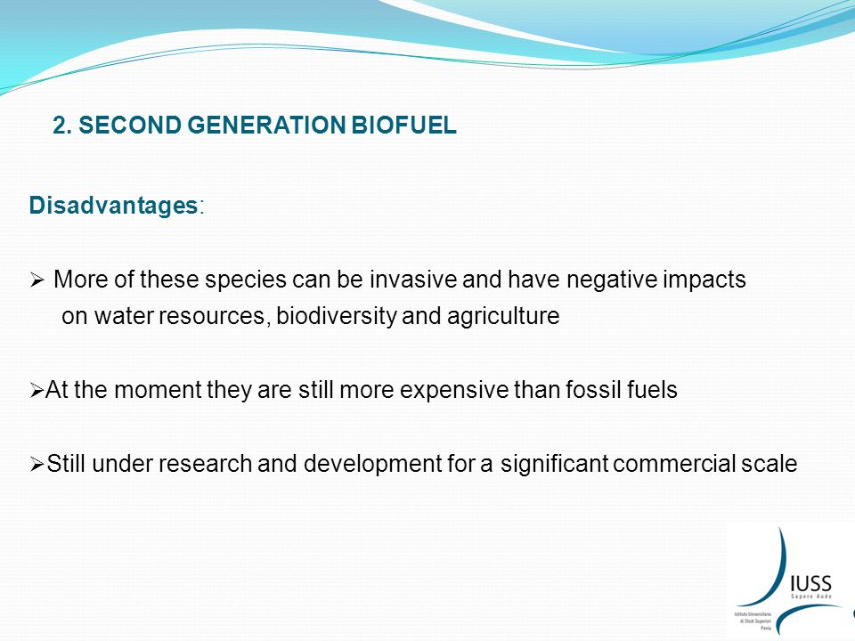 2. SECOND GENERATION BIOFUEL Disadvantages:  More of these species can be invasive and have negative impacts on water resources, biodiversity and agr
