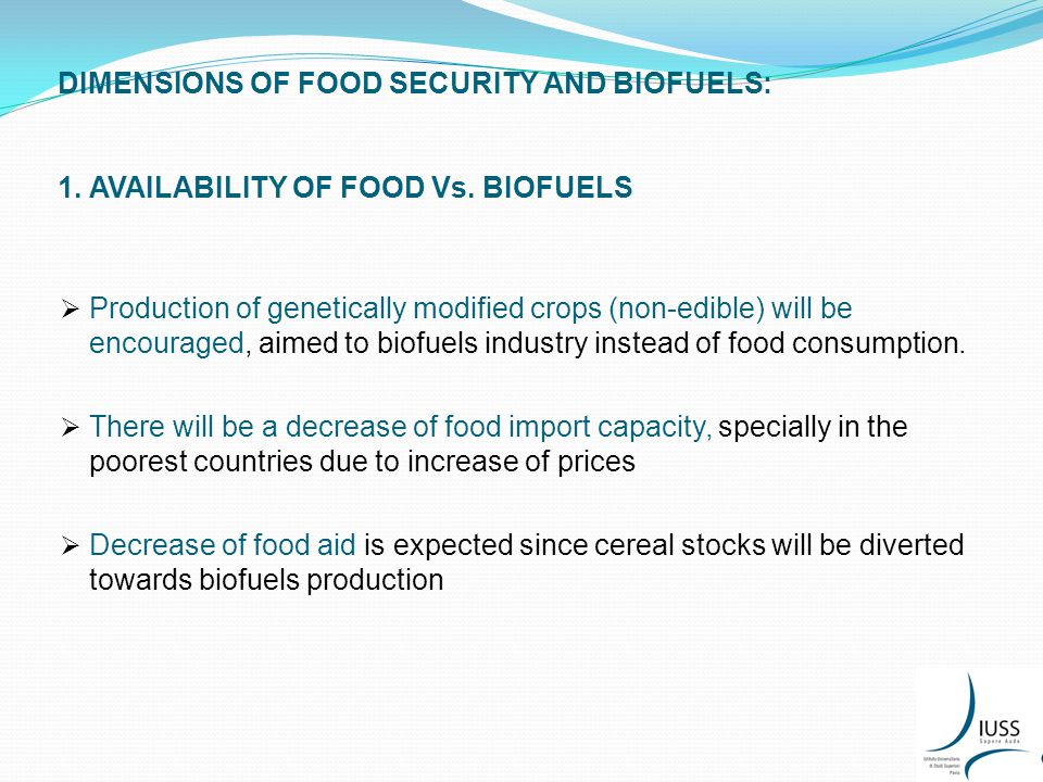 DIMENSIONS OF FOOD SECURITY AND BIOFUELS: 1. AVAILABILITY OF FOOD Vs.
