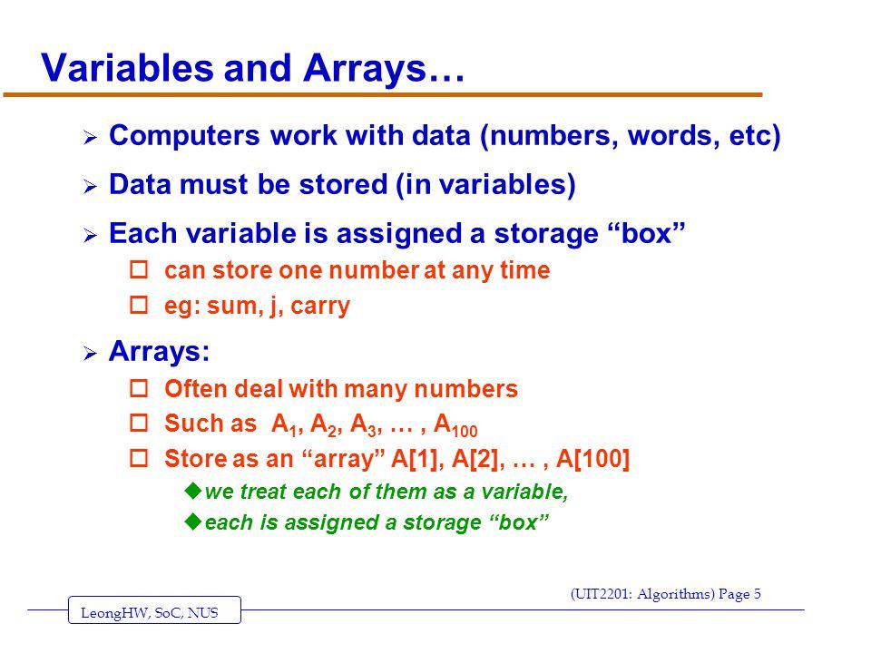LeongHW, SoC, NUS (UIT2201: Algorithms) Page 36 FIND LARGEST ALGORITHM PROBLEM: Given n, the size of a list, and a list of n numbers, find the largest number in the list.
