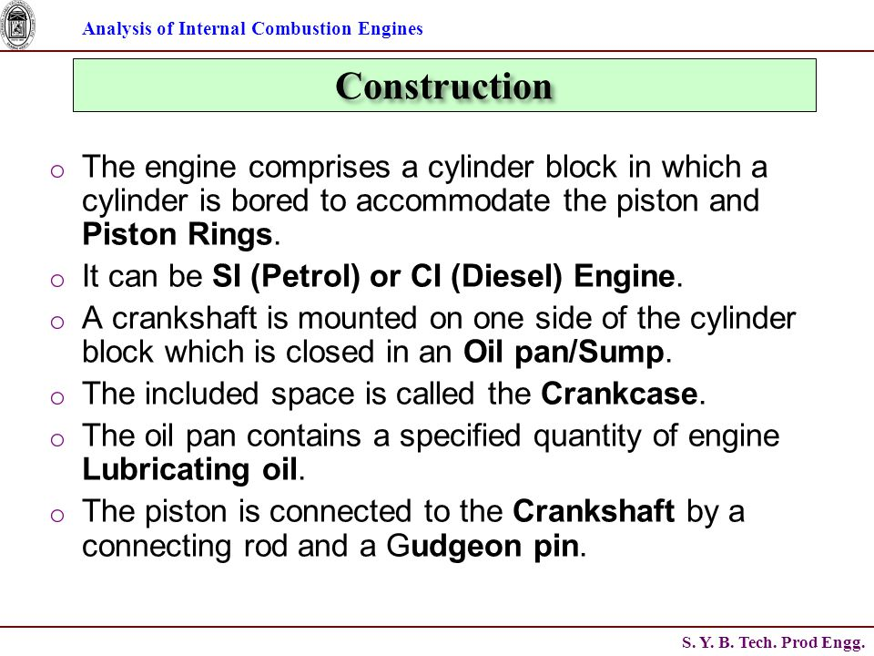 Analysis of Internal Combustion Engines S. Y. B.
