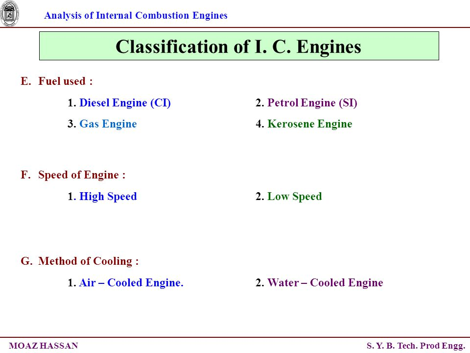 Analysis of Internal Combustion Engines S. Y. B. Tech. Prod Engg.MOAZ HASSAN Classification of I. C. Engines E.Fuel used : 1. Diesel Engine (CI)2. Pet