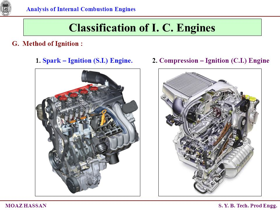 Analysis of Internal Combustion Engines S. Y. B. Tech. Prod Engg.MOAZ HASSAN Classification of I. C. Engines G.Method of Ignition : 2. Compression – I